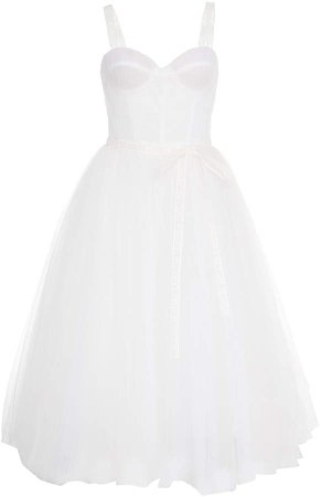 Bow-Detailed Embellished Organza Dress