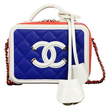 Chanel Red/White/Blue Caviar Quilted Small CC Filigree Vanity Case Crossbody Bag