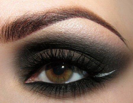 Black Smokey Eye w/ White Eyeliner