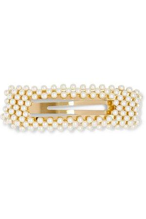Jennifer Behr | Valerie gold-tone faux pearl hair clip | NET-A-PORTER.COM