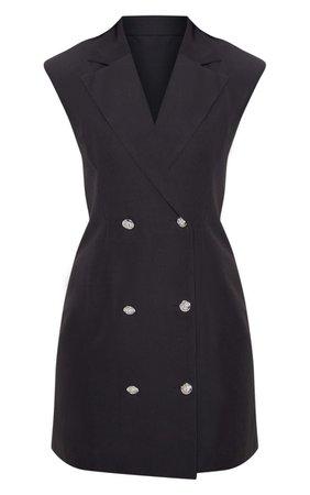 Black Sleeveless Button Detail Bodycon Dress | PrettyLittleThing USA