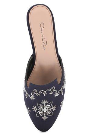 Женские темно-синие текстильные сабо с вышивкой OSCAR DE LA RENTA — купить за 58550 руб. в интернет-магазине ЦУМ, арт. S1714134