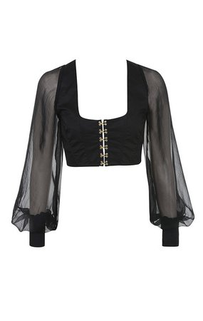 Clothing : Tops : 'Arietta' Black Bodice Long Sleeve Crop Top