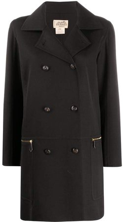 1990s Pre-Owned Thigh-Length Double-Breasted Coat
