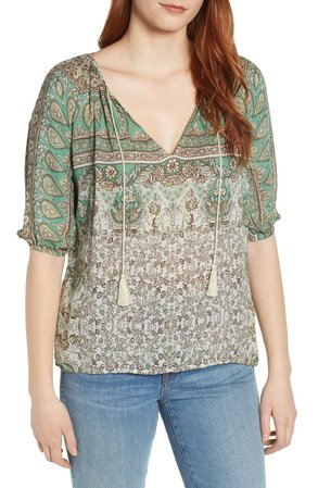 Lucky Brand Kelly Print Peasant Top | Nordstrom