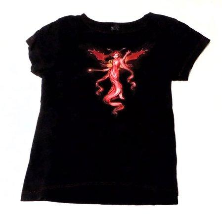 Vinty y2k / 00s magic dust Goth Fairy tee top🕷 Black... - Depop