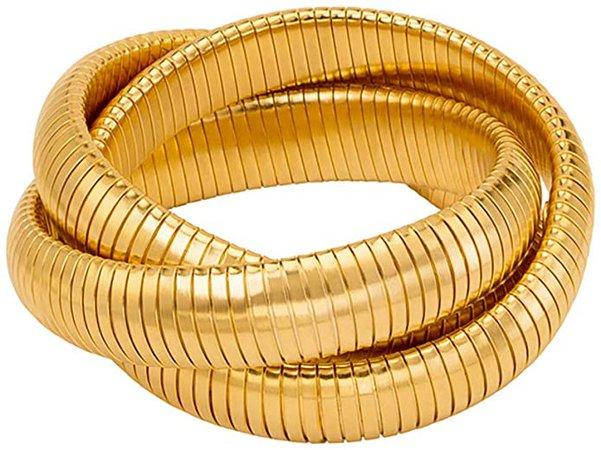 Amazon.com: JANIS BY JANIS SAVITT Triple Cobra Bracelet - High Polished Gold: Jewelry