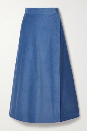 Theo Cotton-corduroy Wrap Midi Skirt - Blue