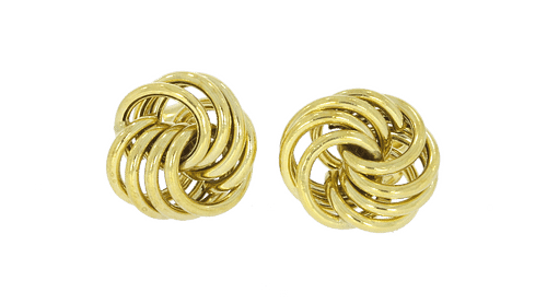 9ct Yellow Gold Polished Flattened Wool Knot Earrings