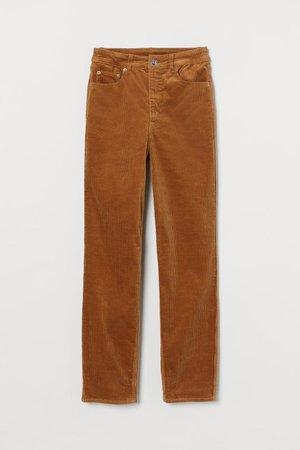 Corduroy Pants - Dark beige - Ladies | H&M US