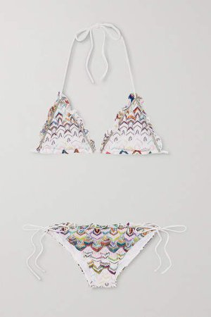 Mare Ruffled Crochet-knit Triangle Halterneck Bikini - White