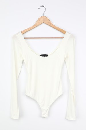 Cute White Bodysuit - Long Sleeve Bodysuit - Scoop Neck Top