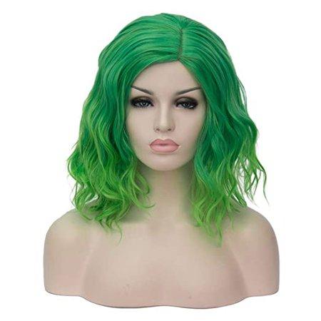 "Amazon.com: BERON 14"" Women Girls Short Curly Bob Wavy Green Wig Heat Resistant Rose Net with Wig Cap (Green): Beauty"