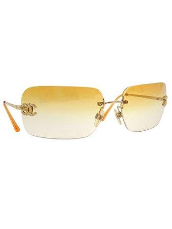 orange rhinestone chanel sunglasses