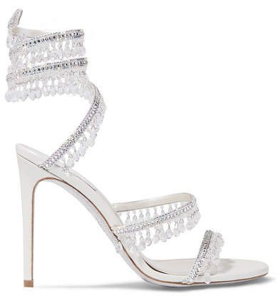 Cleo Embellished Metallic Satin And Leather Sandals - Silver