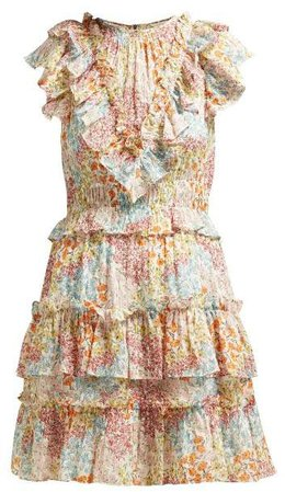 Ava Ruffled Floral Print Silk Blend Dress - Womens - Multi
