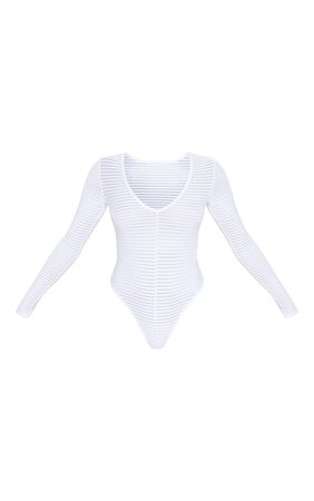 White Burn Out Mesh Plunge Bodysuit   Tops   PrettyLittleThing USA