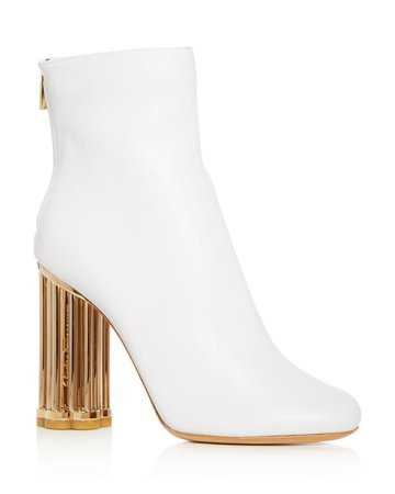 White Booties With Gold Mirror Heel