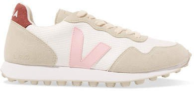 Sdu Hexa Rubber-trimmed Mesh And Vegan Suede Sneakers - White