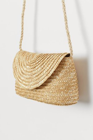 Small straw shoulder bag - Light beige - | H&M GB