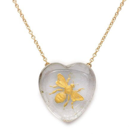Heart Shaped Rock Crystal 14 KT. Yellow Gold Bee Necklace : Sweet Gestures Jewels | Ruby Lane