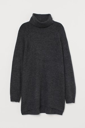 H&M+ Turtleneck Sweater - Dark gray melange - Ladies | H&M US