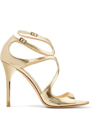 Jimmy Choo Lang 100 gold metallic leather sandals