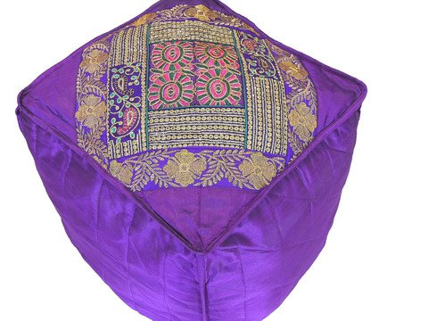 "Purple Floor Seating Pouf Cover - Zari Embroidered Traditional Indian Ottoman 18"": NovaHaat"
