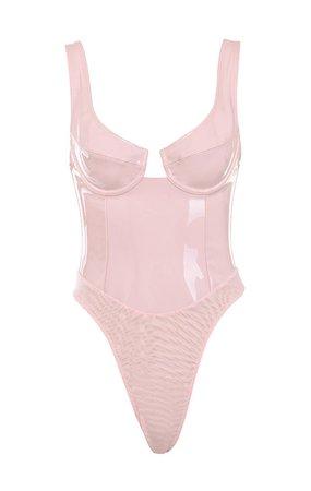 Clothing : Bodysuits : 'Kezia' Pink Patent Vinyl Bodysuit