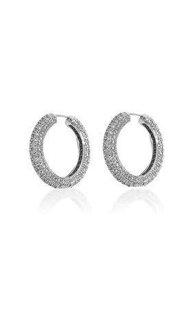 Pavé Platinum-Plated Hoop Earrings By Numbering | Moda Operandi