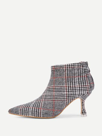 Kitten Heeled Plaid Ankle Boots