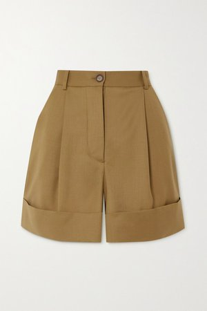 Pleated Wool-twill Shorts - Brown