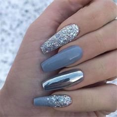 Pinterest - 70+ Attractive Acrylic Green and Blue Glitter Coffin NailsTo Try This Winter – Page 7 – Chic Cuties Blog | nails