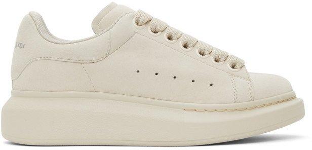Beige Suede Oversized Sneakers