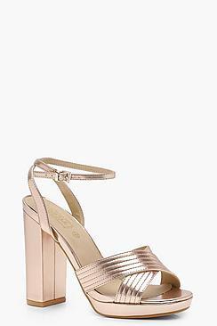 Caroline Metallic Cross Strap Platform Heels