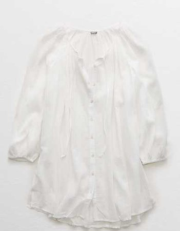 Aerie Long Sleeve Button Down Cover Up white