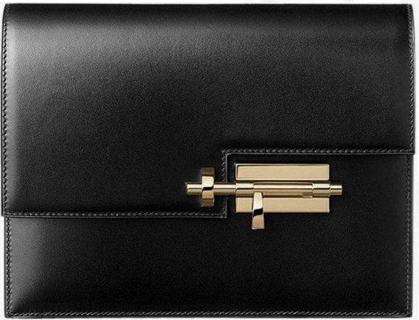 hermès verrou black leather bag