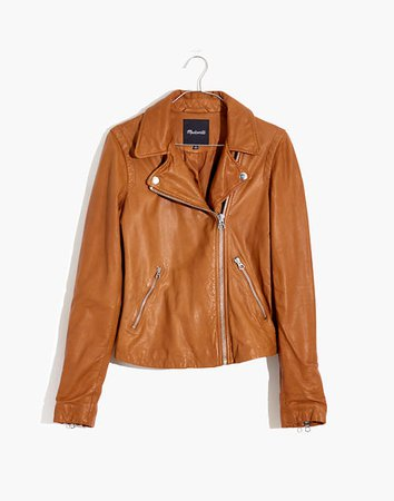 Washed Leather Motorcycle Jacket brown