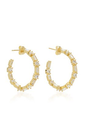 Gold-Tone Brass And Crystal Hoop Earrings by FALLON | Moda Operandi
