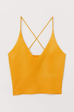 Fine-knit Camisole Top - Yellow