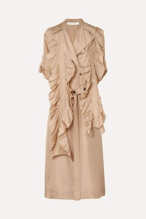 Ruffled Silk Trench Coat - Beige