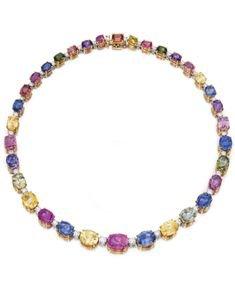 BULGARI Oval mixed-cut and brilliant-cut sapphires necklace