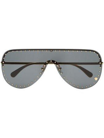 Versace Eyewear Studded aviator-frame Sunglasses - Farfetch