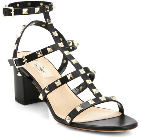 Rockstud Leather Block Heel Sandals