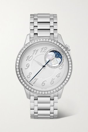 Silver Egérie Automatic Moon-Phase 37mm stainless steel and diamond watch | Vacheron Constantin | NET-A-PORTER