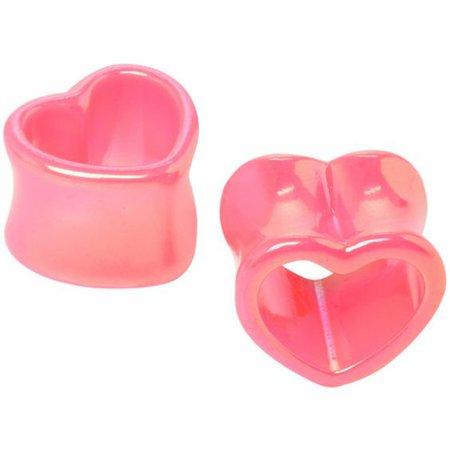 Pink Metallic Heart Eyelet Plug 2 Pack   Hot Topic