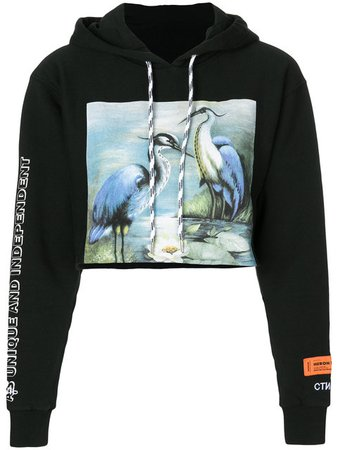 $452 Heron Preston Bird Print Cropped Hoodie - Shop Online - Fast AU Delivery, Mobile Friendly