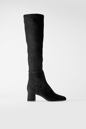HIGH BLOCK HEELED OVER - THE-KNEE BOOTS | ZARA United States black