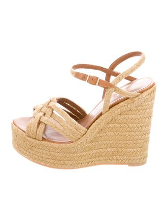 Saint Laurent Platform Wedge Sandals - Shoes - SNT53748 | The RealReal