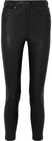 Nina Cropped Skinny Leather Pants - Black